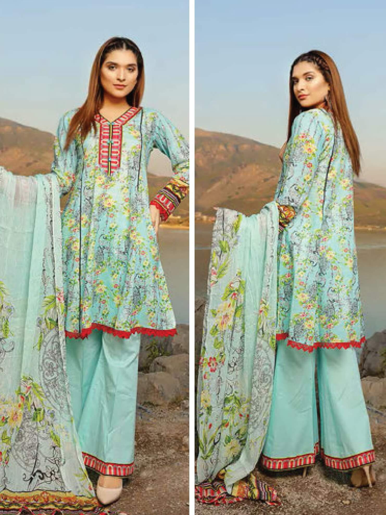 Shazmeen Printed Lawn Collection 3PC lawn Print Suit D-14 - FaisalFabrics.pk