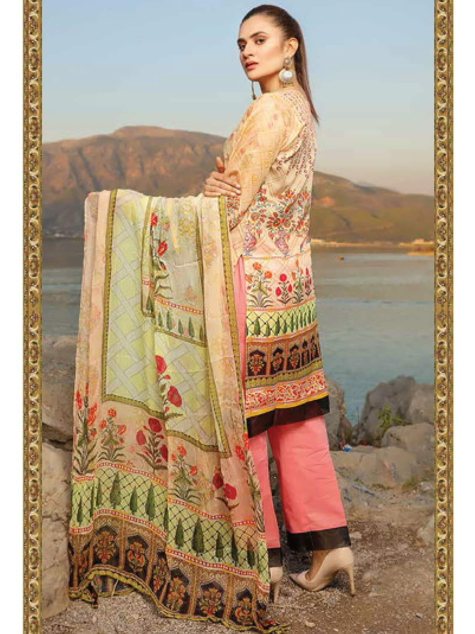 Shazmeen Printed Lawn Collection 3PC lawn Print Suit D-15 - FaisalFabrics.pk