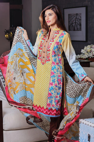 Alkaram Studio SS48 Yellow Lawn 3 Pc - Chiffon With Embroidery