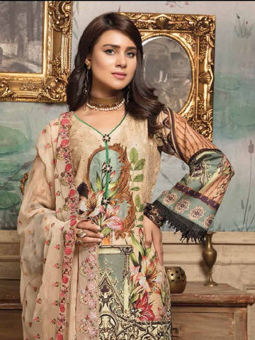 SANAM SAEED Luxury Lawn Eid Collection 2019 Chikan Kari 3PC Suit SS 07