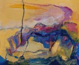 Abstract Landscape in yellow pink and blue