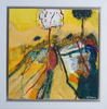 Framed abstract landscape painting in yellow
