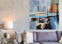 Load image into Gallery viewer, Large Abstract Painting in blue in situ in living room by Irish artist Martina Furlong