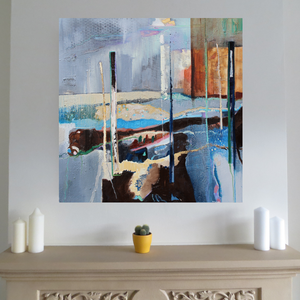 Large Abstract Painting in blue in situ in living room by Irish artist Martina Furlong
