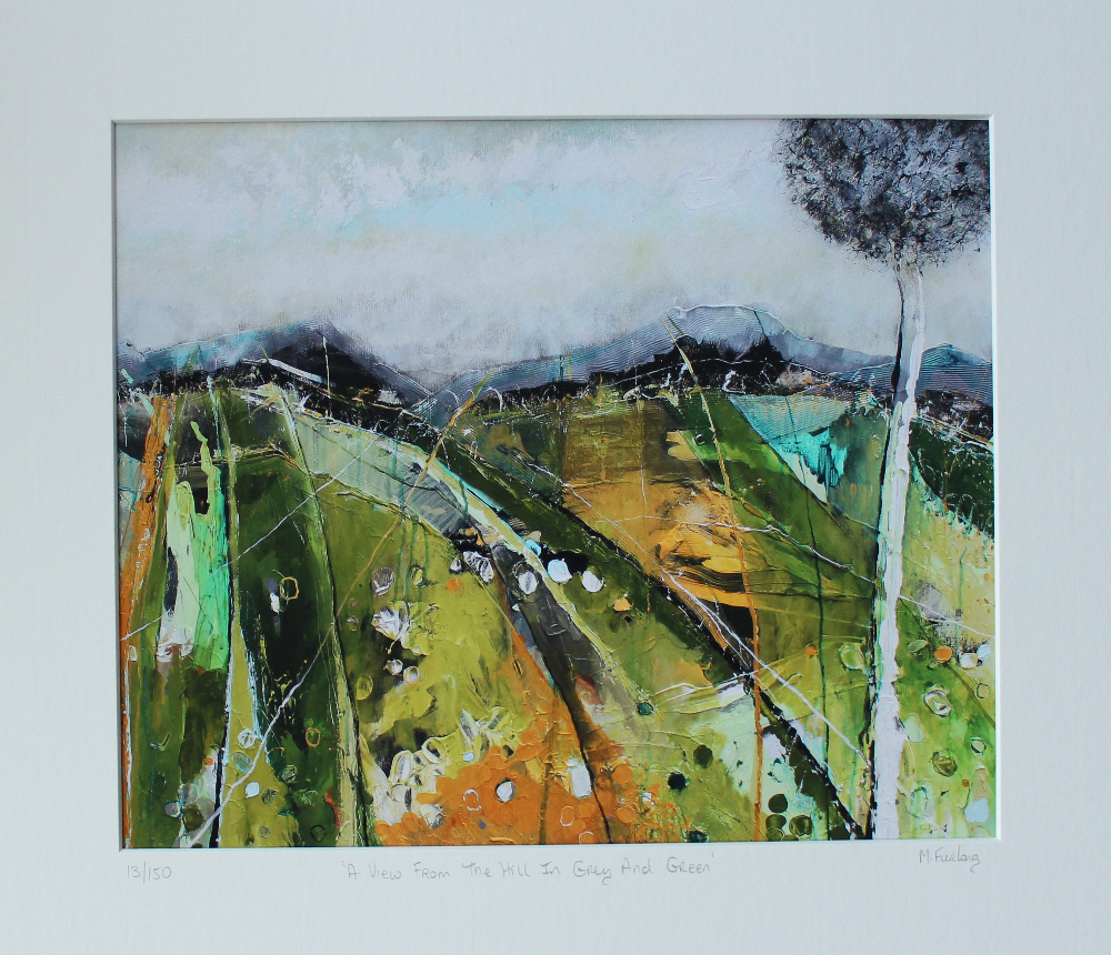 Artwork capturing the lush green Irish landscape with fields mountains and trees