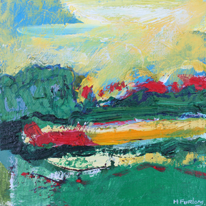 Original colourful textured Irish landscape painting in green, blue and yellow by Martina Furlong