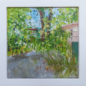 A View From The Sheds At Woodville House, 2017 - original acrylic painting on canvas (H20xW20cm)