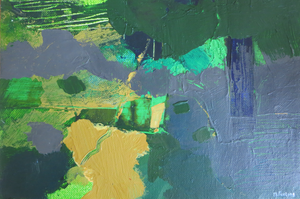 Abstract Ireland Study In Green II - original mixed media on paper (H17.5xW25cm)