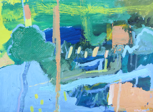 Abstract Ireland 12, 2019 - original oil painting on paper (H21xW29cm)