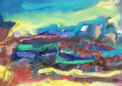 Abstract Ireland 15 - original oil painting on paper (H21xW29cm)