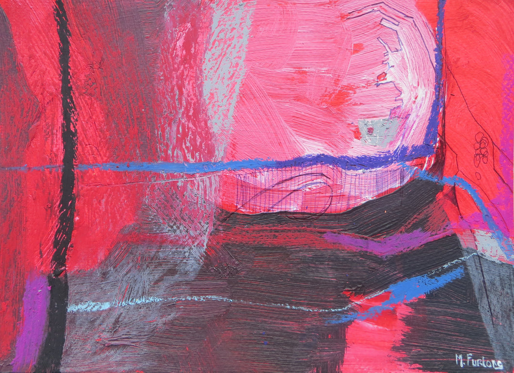 Abstract Ireland Study In Red I, 2018 - original mixed media on paper (H17.5xW25cm)