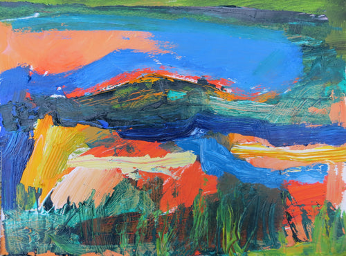Abstract Ireland 5, 2018 - original oil painting on paper (H21xW29cm)