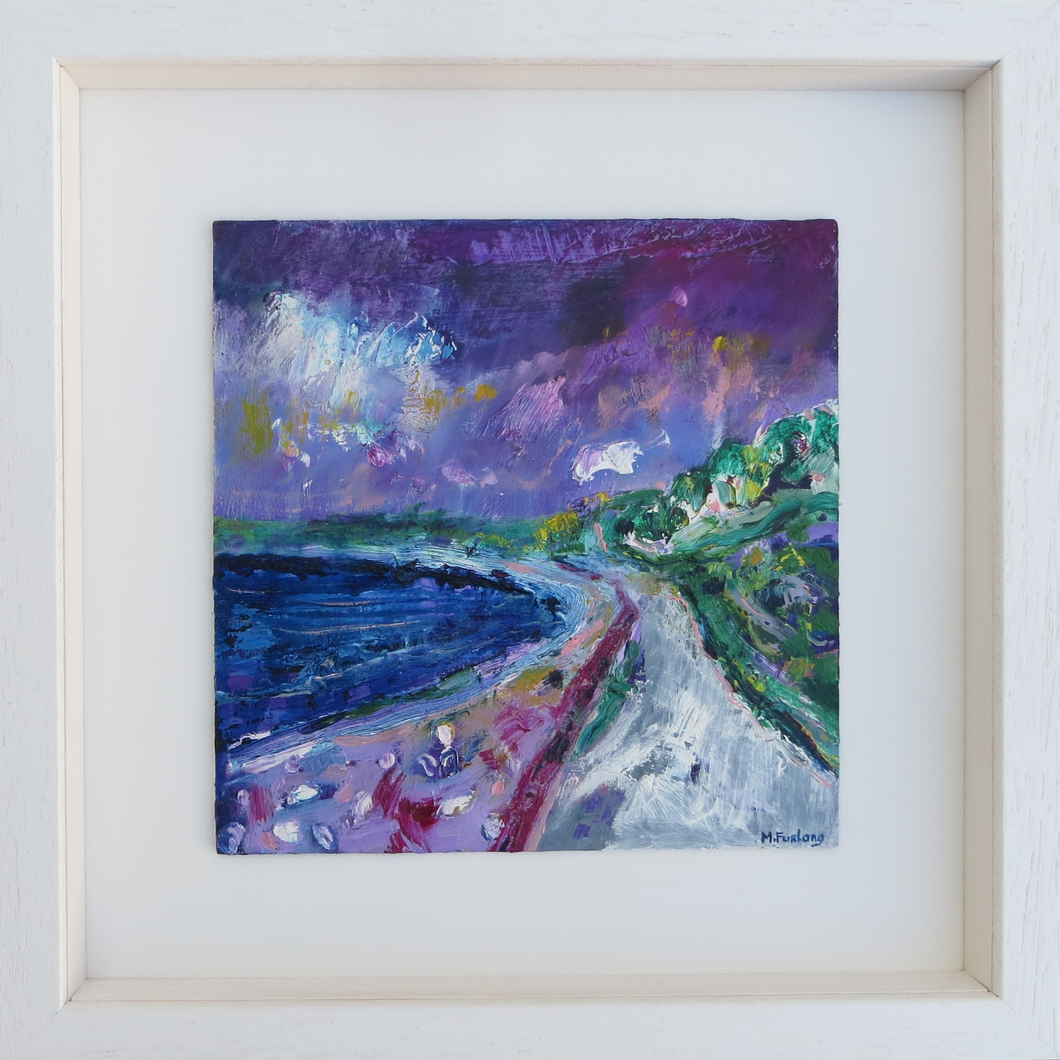 Martina Furlong Contemporary Modern Irish abstract landscape artist abstract landscape seascape painting of Achill Island Ireland in purple and green