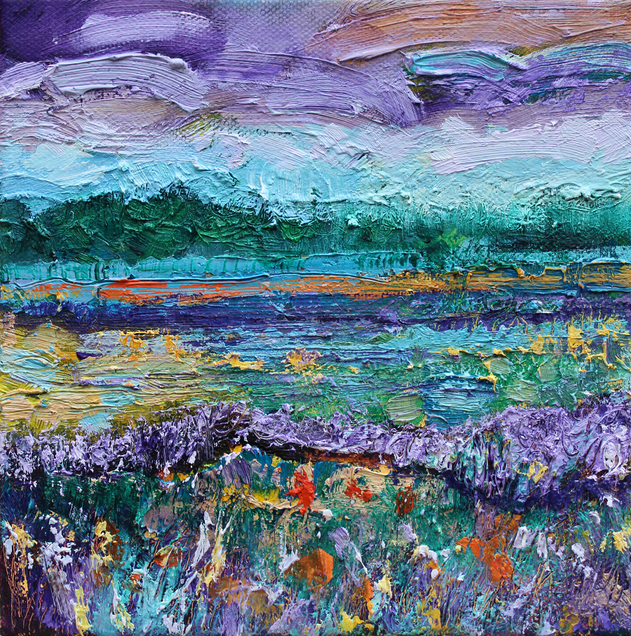 Colourful textured Irish landscape painting