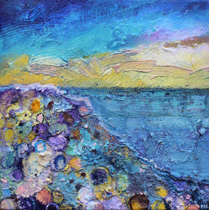A colouful textured Irish seascape painting