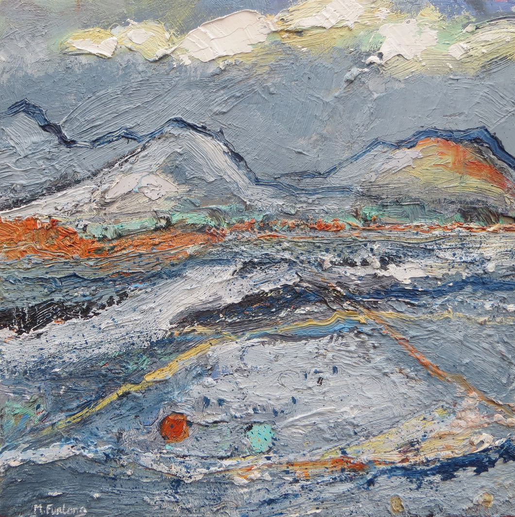 Original Irish landscape painting with grey and orange by Contemporary Irish Artist Martina Furlong