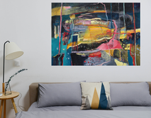 Load image into Gallery viewer, Colourful Abstract Landscape painting in situ