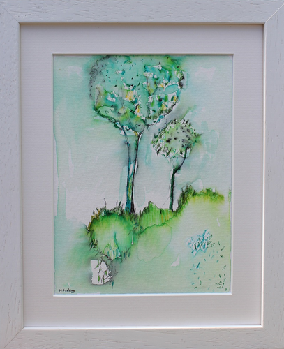 Colour Study With Trees 6  - pen and watercolour on paper (framed)