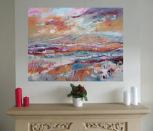 Load image into Gallery viewer, Colourful Irish landscape paintin in situ