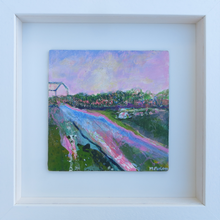 Load image into Gallery viewer, The Cottage With Pink And Green 2 - original acrylic painting on wood (framed)