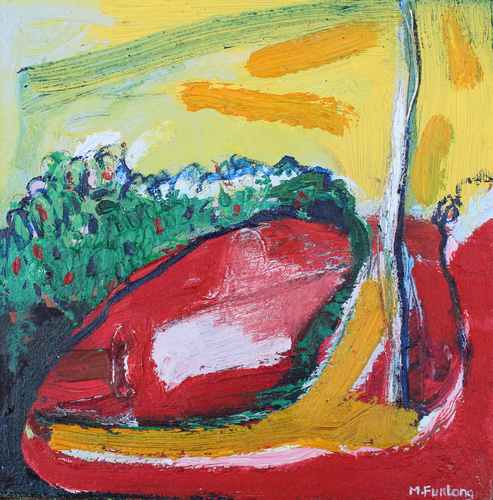 Abstract Landscape painting in red yellow and green y contemporary Irish artist Martina Furlong