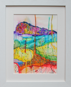 A rainbow coloured abstract drawing inspired by the Irish landscape