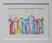 Load image into Gallery viewer, Rainbow coloured drawing inspired by the magical, mountainous Irish landscape, intuition, memories and imagination in ink pens