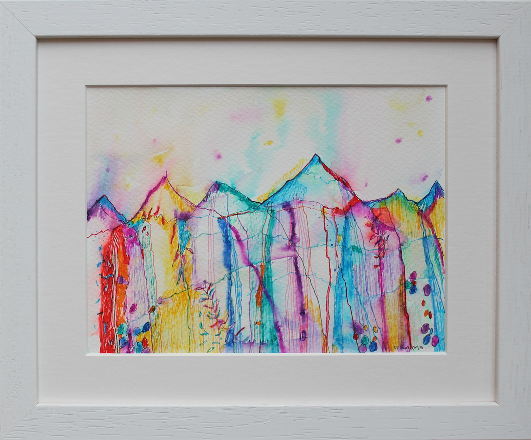 Rainbow coloured drawing inspired by the magical, mountainous Irish landscape, intuition, memories and imagination in ink pens