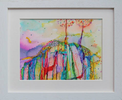 Rainbow coloured landscape drawing in ink pens depicting trees and the Irish landscape