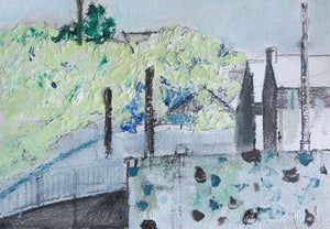 Enniscorthy Town, 2017 - original mixed media painting on paper (H18xW25cm)