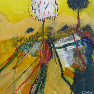 Original mixed media painting on wood with trees in yellow made in Ireland Contemporary Irish abstract landscape painting