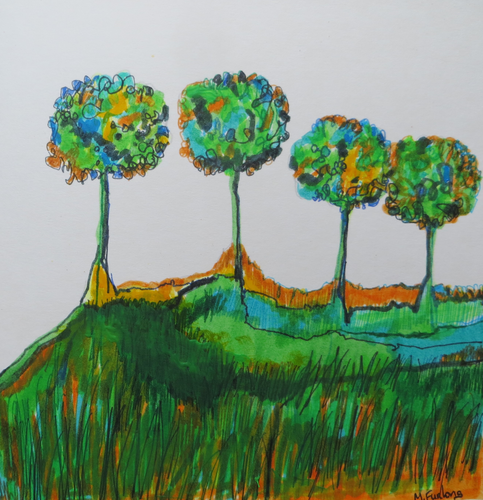 Four Trees - Hand Painted Card