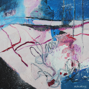 Small abstract landscape in pink and blue by Contemporary Irish artist Martina Furlong