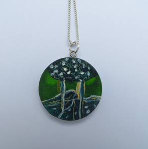 'Green Trees' - Hand Painted Pendant (4cm diameter)