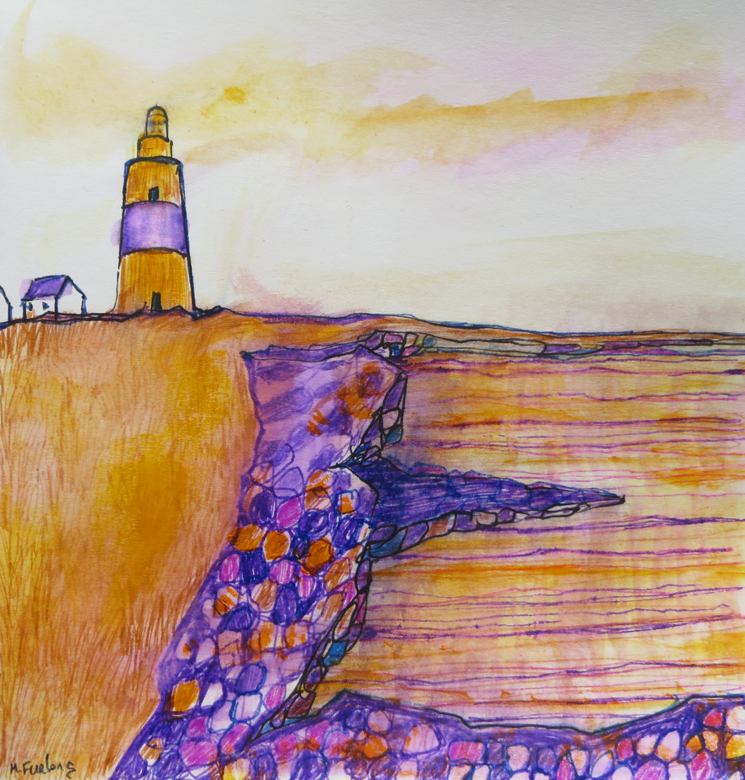 The Cottages And The Lighthouse - Hand Painted Card