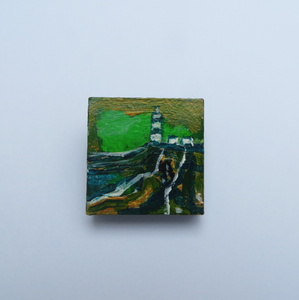 Hand painted brooch wearable art unique Hook Lighthouse brooch