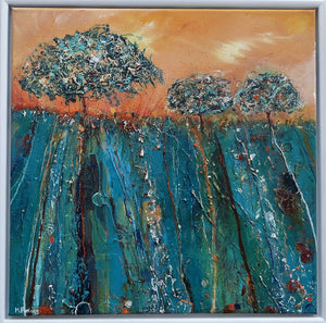 Irish landscape painting with trees in turquoise and orange by Martina Furlong
