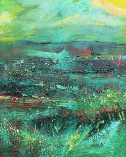 Original Irish landscape painting in green red and yellow by Martina Furlong