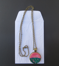 Load image into Gallery viewer, Pink and Green Hand painted pendant