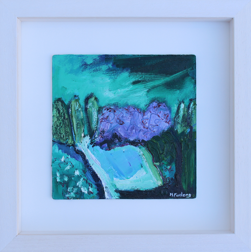 Expressive abstract landscape painting with trees in purple and green by contemporary irish artist Martina Furlong