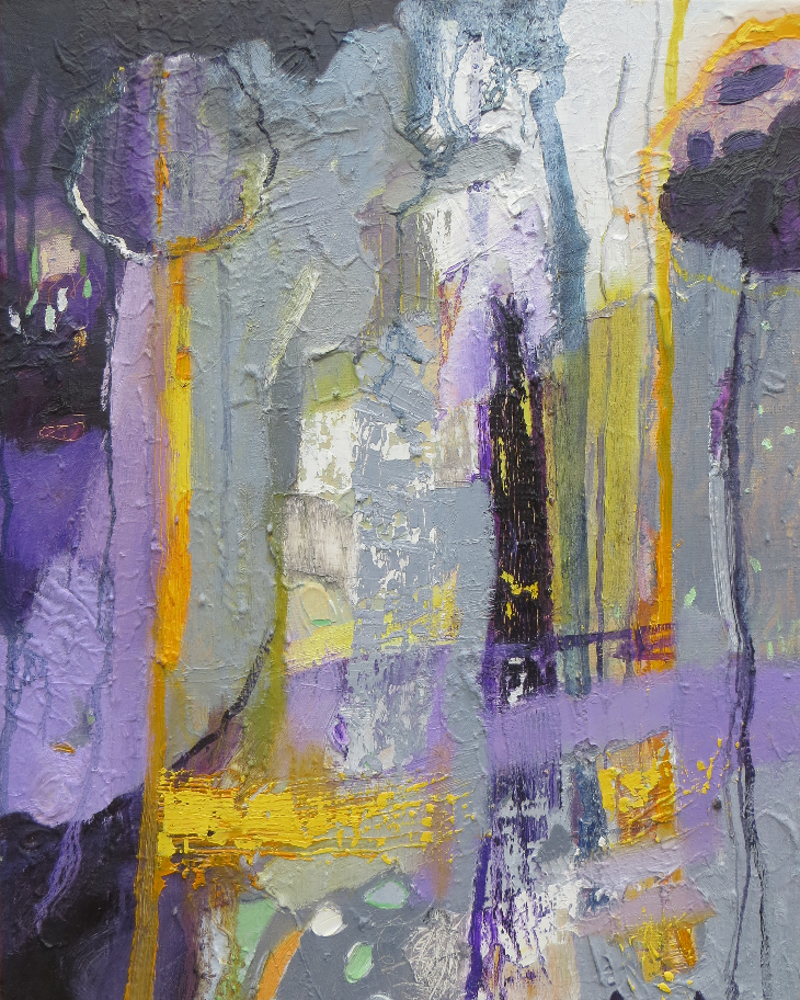 Martina Furlong Contemporary Modern Irish abstract landscape artist abstract landscape painting in purple gold and grey