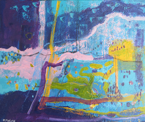 Internal World Study With Purple And Blue 1 - mixed media painting on paper (H23.5xW28cm)