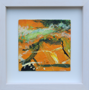 Vibrant Irish abstract landscape painting in yellow green and white
