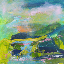 Load image into Gallery viewer, Original Irish landscape painting in green yellow pink on wood by Martina Furlong Artist Green painting Irish art abstract landscape painting in green