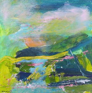 Original Irish landscape painting in green yellow pink on wood by Martina Furlong Artist Green painting Irish art abstract landscape painting in green