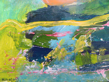 Load image into Gallery viewer, Landscape Study With Green, Yellow And Pink, 2020 - original acrylic painting on wood (H15xW15cm)