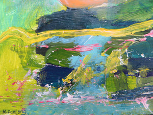 Landscape Study With Green, Yellow And Pink, 2020 - original acrylic painting on wood (H15xW15cm)