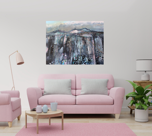 'Landscape With Black, Pink And Blue' - original oil painting on canvas (H76xW101cm)