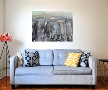 Load image into Gallery viewer, Large Landscape Painting in living room black pink blue