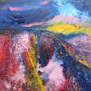 Landscape In Blue, Red And Yellow